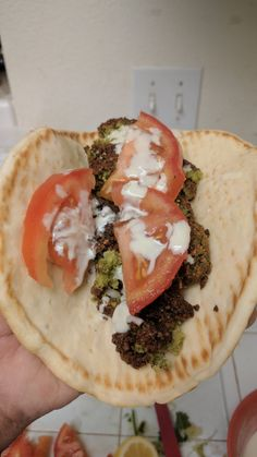 I made falafel from scratch added tahini sauce and slices of tomatoes [2160x3840]