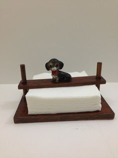 Napkin holder wooden with dog on top