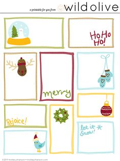 Printable gift tags with lots of room to write (great for people like me with big, messy handwriting!)