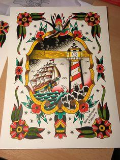 Amsterdam tattoo shop old school ship swallow lighthouse dagger www.eetattoo.com