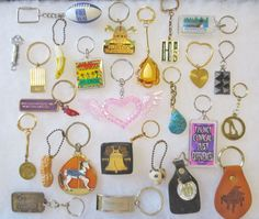 Vintage Estate Lot Of Mixed Theme Advertising & Novelty Keychains-25PCS