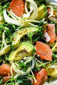 Grapefruit Avocado Salad, Fennel Salad, Avocado Salat, Fennel Recipes, Salad Recipes, Grapefruit Recipes Vegan, Grapefruit Ideas, Grapefruit Cleanse, Vegetarian