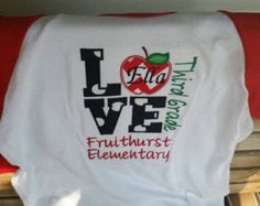 Check out Love School Applique Shirt Back To School Teacher Gifts Apple School Name Grade on fabuellaboutique