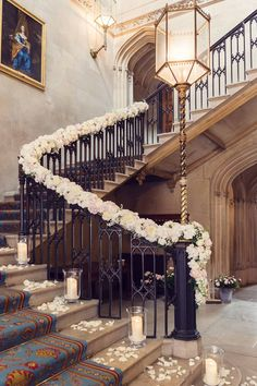 Wedding Trends Garlands, hurricane vases and fresh petals created a seriously romantic setting - This wedding at Ashridge House in Berkhamsted, Hertfordshire, was filled to the brim with blush pink and ivory flower arrangements Desi Wedding Decor, Romantic Wedding Receptions, Luxury Wedding Venues, Luxury Wedding Dress, Wedding Trends, Wedding Ideas, Wedding Staircase Decoration, Wedding Stairs, Wedding Stage Decorations