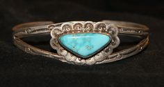DEAD PAWN NAVAJO Cuff Blue Gem Turquoise Sterling by AuctionHunter, $125.00