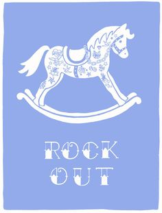 Screen Print 'Rock Out' baby blue by ketchuponeverything on Etsy, $30.00