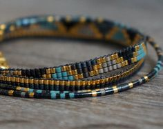 Set of 3 Miyuki beaded bracelets handmade Gold by YRSarmcandy