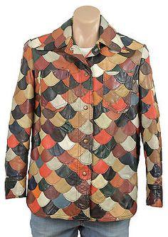 Vintage 1970s PATCHWORK SCALLOP LEATHER Jacket Retro Coat Grunge Shirt Unisex