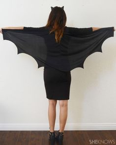 Yup, you can turn your LBD into a cute bat costume for Halloween in three steps