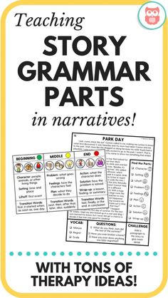 Great printable speech therapy activities for language to increase comprehension through story grammar. Great for middle school! From Speechy Musings