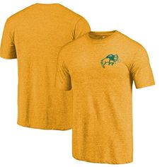 NDSU Bison Fanatics Branded Left Chest Distressed Logo Tri-Blend T-Shirt - Gold Heathered - $24.99