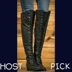 """↪NEW SIZES ADDEDNAVY BLUE LACE UP BOOTS- NIB Lace up boots with zipper on the inside for easy on and  Rubber sole and comfy footbed  Approximately 22 """" tall from top to bottom  14 """" calf with elastic band at the top of the boot for movement  Lovelove ❤love❤✌ BOTIQUE  Shoes Lace Up Boots"""