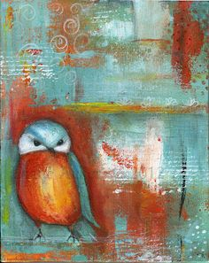 Owl abstract painting by diane Ackers