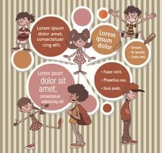 funny kids with Speech Bubbles vector 01
