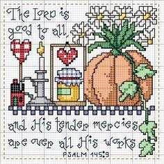 Schematic cross stitch Psalm 145 9
