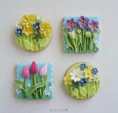花朵主题翻糖小饼干。source:loveliegreenie