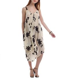 Look at this JSong Beige & Brown Floral Jumpsuit Dress on #zulily today!