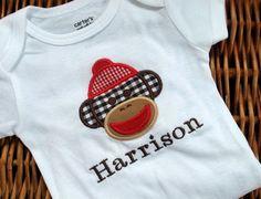 Little Gingham Sock Monkey Tshirt or Onesie by thelittlesweetpeas, $18.00