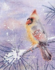 Cardinal Bird Painting Giclee Print of a Watercolor by LaBerge
