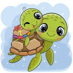 Baby Animal Drawings, Cute Cartoon Drawings, Cute Cartoon Animals, Easy Drawings, Baby Animals, Cute Animals, Cute Turtle Drawings, Cute Turtle Cartoon, Kawaii Turtle