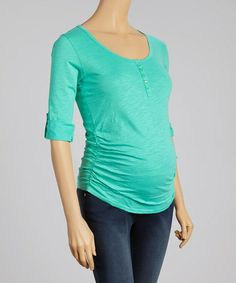 Another great find on #zulily! Blue-Green Ruched Maternity Top by Oh! Mamma #zulilyfinds