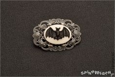 Bat Brooch  Cameo black white Resin floral design by SpinnWeben