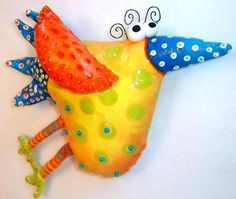 whimsical bird....Yellow and Orange Soft Sculpture (or paper mache) Painted by SummerHouseGal on Etsy,