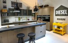 Fabulous industrial style kitchen by Scavolini & Diesel photographed by Moregeous at KBB 2016