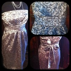 "Host PickSilver satin Baroque  strapless dress Host Pick9/26/13 @blandw Silvery satin Italian print strapless dress with charcoal grey print SZ M zips up back elastic at top NWT tags necklace also available in my closet for $35. The bust is a  29"" bust elastic at back that stretches to 34""total & the length top to bottom hem is 29"" waist is 30"" inches around Dresses Strapless"