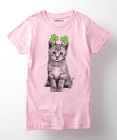 Look at this Cotton Jungle Light Pink Shamrock Kitten Fitted Tee - Girls on #zulily today!