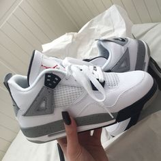 Nike Air Jordan 4 Retro OG 'White Cement' 2016 - - Shop Air Jordan 4 Retro OG 'White Cement' 2016 - Air Jordan on GOAT. We guarantee authenticity on every sneaker purchase or your money back. Moda Sneakers, Cute Sneakers, Sneakers Mode, Sneakers Fashion, Converse Sneakers, Sneakers Workout, Casual Sneakers, Girls Sneakers, Casual Shoes