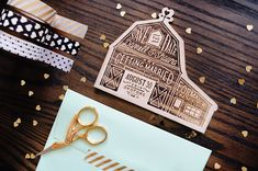 Rustic Etched Wood Barn Save the Dates Shauna Luedtke