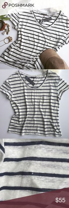 "✨BLK FRI SALE✨ends 11/26! 100% Linen Striped Tee A must-have wardrobe basic.  It is perfect to layer with other favorites or wear as is! High quality piece made of 100% linen. Classic navy and off-white stripe pattern is always in style. ****Please note small hole pictured in 3rd photo!**** Approx. Measurements: Length 25"" Bust 21"" 🛍Bundle & Save 20% on 2+ items! 🙅🏼No trades / selling off of Posh.  ✨Offers always welcome!✨ Michael Stars Tops Tees - Short Sleeve"