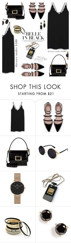 """Belle In Black"" by nineseventyseven ❤ liked on Polyvore featuring MANGO, Zara, Roger Vivier, Daniel Wellington, Chanel, Venus, Kate Spade, John Hardy, black and dress"