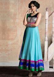 Light blue georgette embroidered designer salwar suit