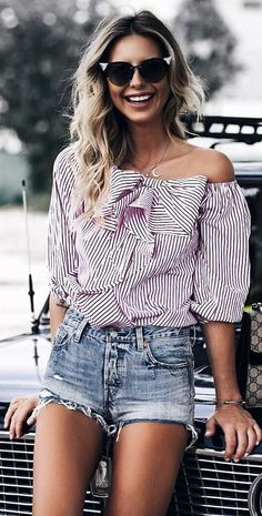 trendy summer casual style: one shoulder top + shorts