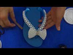 sandália decorada com laço de pérolas simples - YouTube