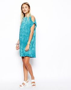 Enlarge ASOS Cold Shoulder Dress in Texture and Tie Dye