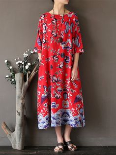 Women Ethnic Printed Half Sleeve Vintage Maxi Dresses Shopping Online - NewChic Mobile.