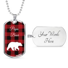 This is a unique gift to help celebrate that special papa bear in your life. The dog tag comes in gold and silver and prices start at $39.95.#specialdadgift #bestpapabeargift Grandpa Gifts, Gifts For Dad, Unique Gifts, Best Gifts, Love Lily, Glass Coating, Personalized Necklace, Working Moms, Custom Engraving