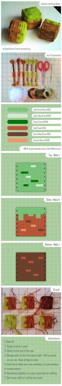 Grass Block Crochet Tutorial by dinn on deviantART