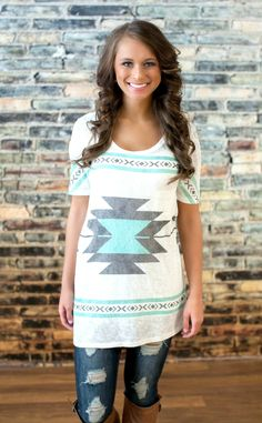 The Pink Lily Boutique - All The Better Mint Aztec Tunic, $32.00 (http://thepinklilyboutique.com/all-the-better-mint-aztec-tunic/)