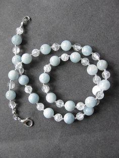 Aquamarine and crackle quartz necklace. SOLD