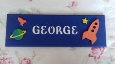 Space planet rocket door Name plaque Name sign plate Door Plaques, Name Plaques, Star Nursery, Nursery Decor, Girl Room, Girls Bedroom, Cardboard Letters, Space Planets, Fairy Land