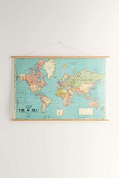 Living room- this map with tommys guitars hanging to the left of it. Hanging World Map Art Print - Urban Outfitters