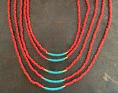 multi layered coral seed beads with gold filled tube beads wrapped with turquoise colored thread - I <3 layers!