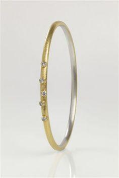 Josef Koppmann Silver and 24ct Gold Bangle with Diamonds