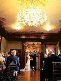 Sunset wedding with chandelier lighting