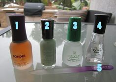 "1. ORLY bonder base coat  ;   2. any nail polish you fancy 3. American Classic Gelous nail gel  ;   4. Sally Hansen Insta-Dry ""Clearly Quick"" 5. Sephora crystal nail file STEPS :: *1. File and shape nails as desired.  Lightly file the surface of the nail.  *2. Apply ORLY base coat;  let dry.  *3.  Apply a thin layer of your color; let dry. *4. Apply a thin layer of Gelous; let dry. *Note:  be careful not to paint onto skin with this because it will cause your polish to peel off easier later…"