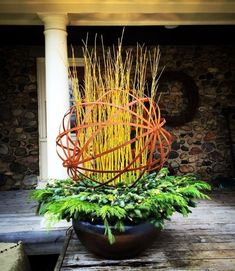 Winter Planter containing Corten banding Sphere with Yellow twig Dogwood and lit mixed greens base. By: Andrew VanHarken Winter Container Gardening, Container Plants, Plant Containers, Christmas Planters, Outdoor Christmas, Christmas Urns, Christmas Entryway, Christmas Garden, Christmas Decorations